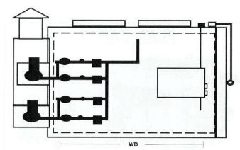 Technical drawing of a Steelman Oven